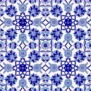 20x20 AC-10 Selcuk Mavi Cicek Desenli Cini Karo