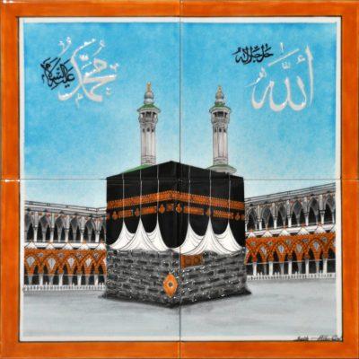 40x40 Mekke Mukerreme Cini Pano El Dekoru Kütahya ve iznik çinileri hat sanatı cami otel spa hamam dekorasyonu mosque arabic tiles ceramic decorations