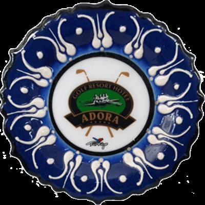12 cm. Kobalt Kabartma Çini Tabak-2