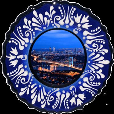 18 cm. Mavi Kabartma Çini Tabak