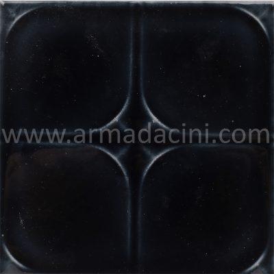 Siyah porselen çini karo rölyef desenli
