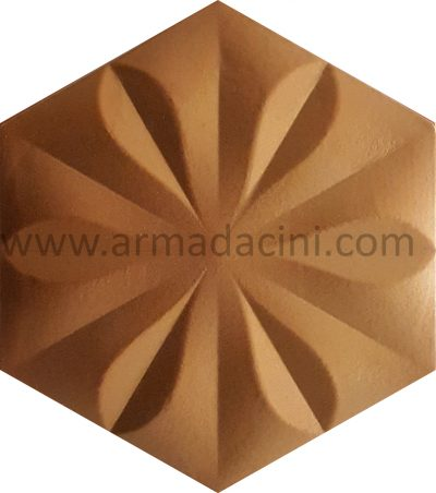 gold silver hexagon tiles flower ceramic decor
