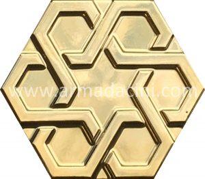 Gold ceramic porcelain mosaic hexagon tiles