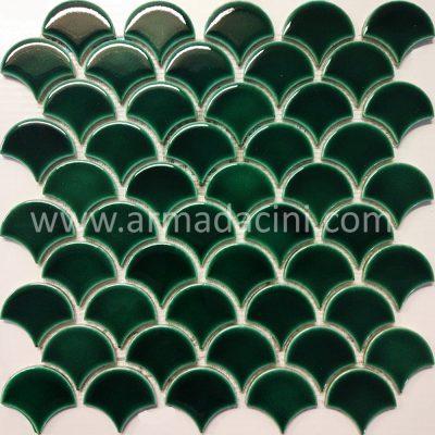 Fileli mozaik küçük balık pulu yeşil porselen çini