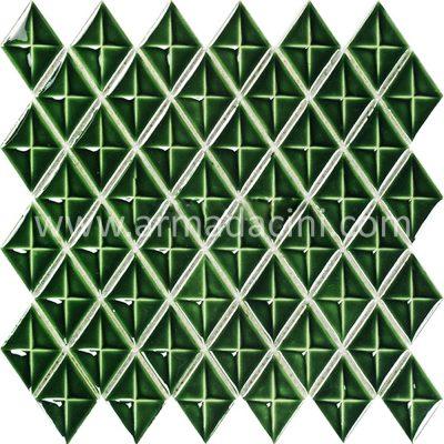 Yeşil baklava görünümlü 3 bıyutlu porselen modern çini seramik