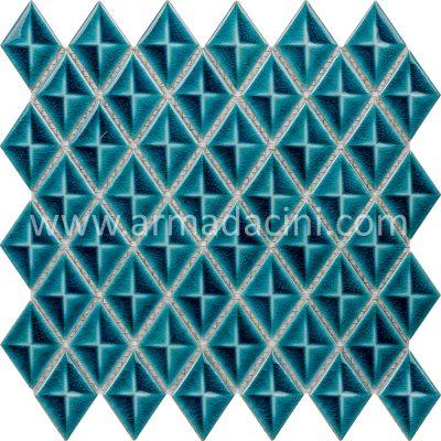 Turkuaz baklava mozaik fileli seramik porselen çini