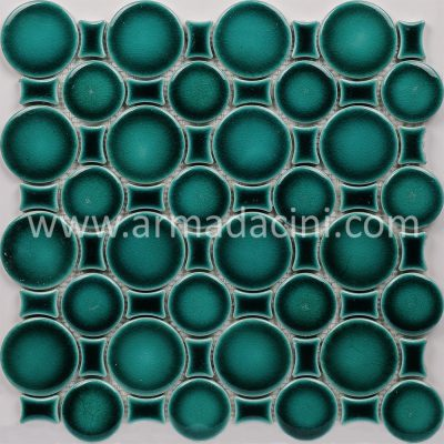 Zümrüt yeşili porselen fileli mozaik yuvarlak seramik çini plaka havuz banyo duşakabin dekorasyonu çini sanat tarihi en uygun fiyatları