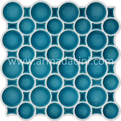 Yuvarlak turkuaz fileli mozaik çini dekorasyonu