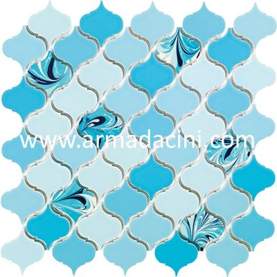 fileli mozaik havuz mavisi ebru desenli porselen karo