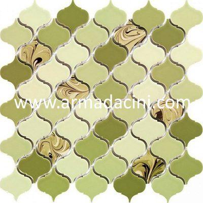 Ebru desenli arabesk porselen fileli mozaik