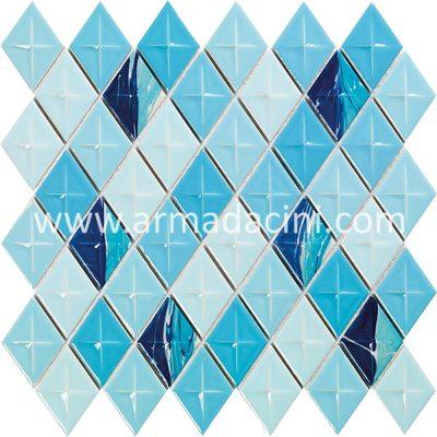 Baklava fileli mozaik mavi ebru