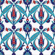 AC-2 Kırmızı Lale Desenli Cini Seramik Karo, Kütahya çinisi, Cami çinileri, Türk hamamı, arabic mosque, Banyo dekorasyon, fiyatları, örnekleri