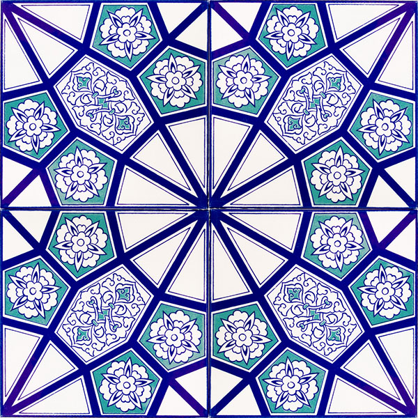 20x20 Ac 3 A Geometric Blue Pattern Ceramic Tile Armada 199 Ini
