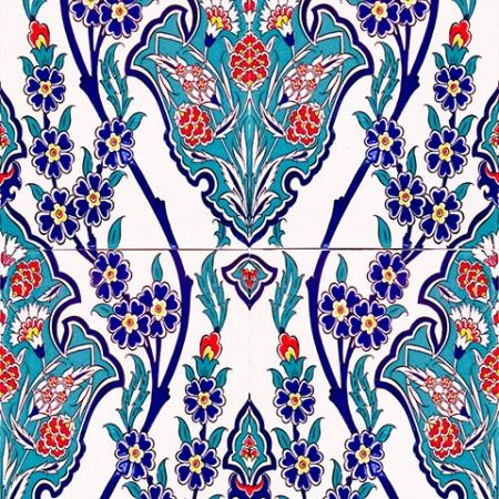 AC-1013 Karanfil Desenli Çini Seramik Karo, Kütahya çinisi, Cami çinileri, Türk hamamı, arabic mosque, Banyo, otel dekorasyon, fiyatları, örnekleri