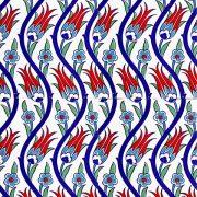 AC-1020 Laleli Desen Çini Seramik Karo, Kütahya çinisi, Cami çinileri, Türk hamamı, arabic mosque, Banyo, otel dekorasyon, fiyatları, örnekleri