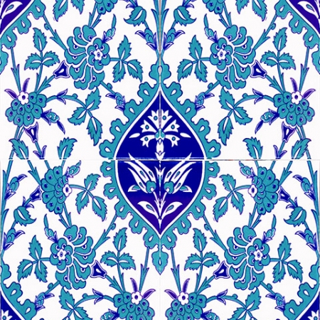 AC-1042 Mavi Beyaz Çini Seramik Karo, Kütahya çinisi, Cami çinileri, Türk hamamı, arabic mosque, Banyo, otel dekorasyon, fiyatları, örnekleri