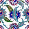 20x20 Cm AC 1 Hançer Yaprak Desenli Kütahya Çini Karo