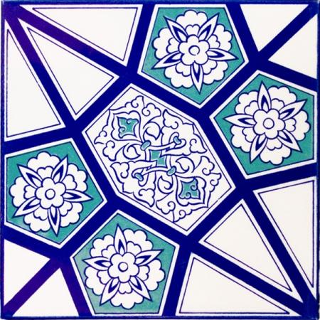 20x20 Cm AC 3 A Geometrik Mavi Beyaz Desen Çini Karo