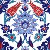 20X20 Cm Ac 4 İznik Lale Desen Kütahya Çini Karo Seramik