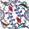 20x20 Cm Ac 5 İznik Dönence Çiçek Desenli Çini Karo