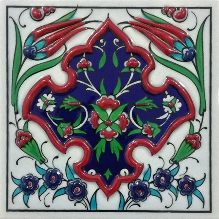 10x10 Kutahya Çinisi 4 Karanfil Desenli El Dekoru 02 Cini Pano iznik çinileri el yapımı çini karo türk çini sanatı desenleri osmanlı motifleri türk hamamı çini pano banyo mutfak çiniler seramik otel ev cami metro dekorasyon mosque masjid hand made interior ceramic tiles decoration turkısh bath bathroom fiyatları