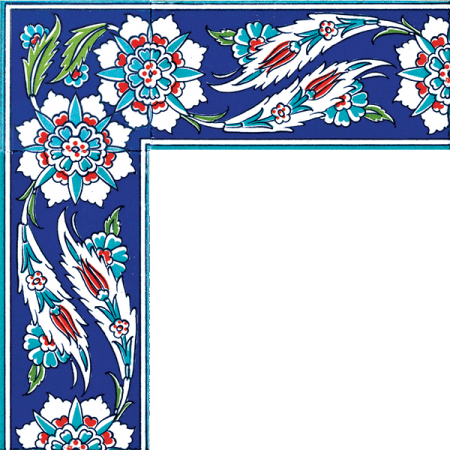 Kütahya china, iznik china, Mosque tiles, Patterned ceramic tile, Turkish bath, maroc, arabic geometric tiles, Hancer Patterned Tile Border prices samples models