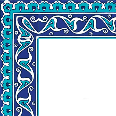 Kütahya tile, iznik tile, Mosque tiles, Patterned ceramic tile, islamic art, maroc, arabic geometric tiles, Rumi Tile Patterned Border samples