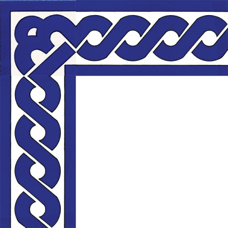 Cobalt chain crossing tile. Masjid belt tile coating