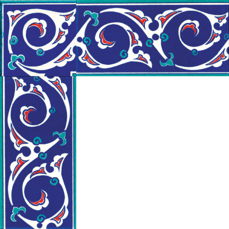 Kütahya china, iznik tile, Mosque tiles, Patterned ceramic tile, islamic art, maroc, arabic geometric tiles, Turquoise Patterned Cini Border prices samples