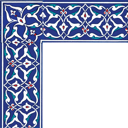 Kütahya and iznik tile, Mosque tiles, Patterned ceramic tile, islamic art, maroc, arabic geometric tiles, Rumi Pattern Cini Border