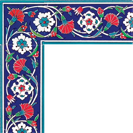 10x20 KS-43 Carnation Cini Ceramic Border, Kütahya and iznik tile, Mosque tiles, Patterned ceramic tile, Islamic art, maroc, arabic geometric tiles,
