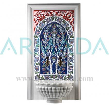 60x120 620 Hayat Ağacı çini Desenli Türk Hamamı