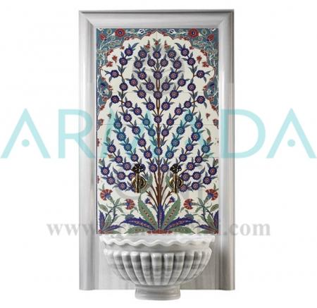 80x140 Hayat Ağacı Desenli Çini Türk Hamamı