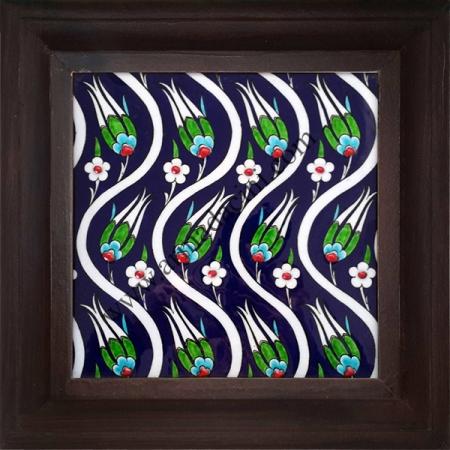 20x20 iznik Cini Kobalt Laleler Desenli El Dekoru 207 Cini Pano iznik çinileri el yapımı çini karo türk çini sanatı desenleri osmanlı motifleri türk hamamı çini pano banyo mutfak çiniler seramik otel ev cami metro dekorasyon mosque masjid hand made interior ceramic tiles decoration turkısh bath bathroom fiyatları