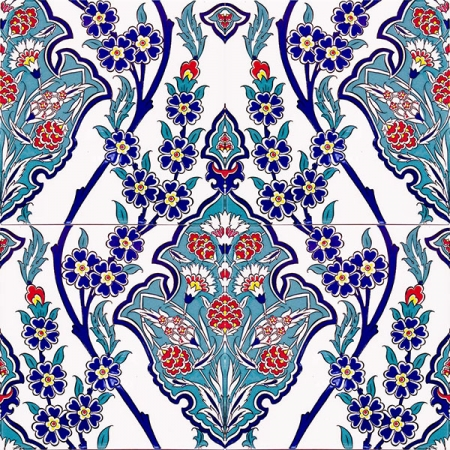 AC-13 Flower Patterned Cini Ceramic Tile, Kütahya tiles, iznik china, Mosque tiles, Turkish bath, maroc, arabic mosque decoration tiles, prices, samples