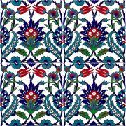 AC-19 Tulip Pattern Ottoman Cini Ceramic Tile, Kutahya tiles, iznik, Mosque tiles, Turkish bath, maroc, arabic mosque decoration tiles, prices, samples
