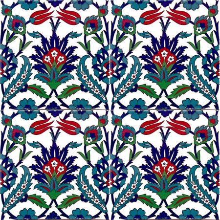 AC-19 Tulip Pattern Ottoman Cini Ceramic Tile, Kutahya tiles, iznik, Mosque tiles, Turkish bath, maroc, arabic mosque decoration tiles, prices, samples