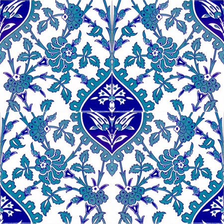 AC-42 Blue White Flower Pattern Ceramic Tile, Kütahya tiles, iznik, Mosque tiles, ceramic, Turkish bath, maroc, arabic interior tiles, prices, examples