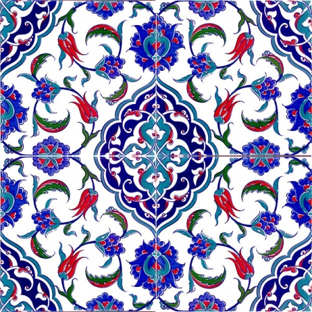 AC-44 Ottoman Pattern Cini Karo, Kütahya tiles, iznik, Mosque tiles, Patterned ceramics, Porcelain tiles, Turkish baths, maroc, arabic tiles, prices, samples
