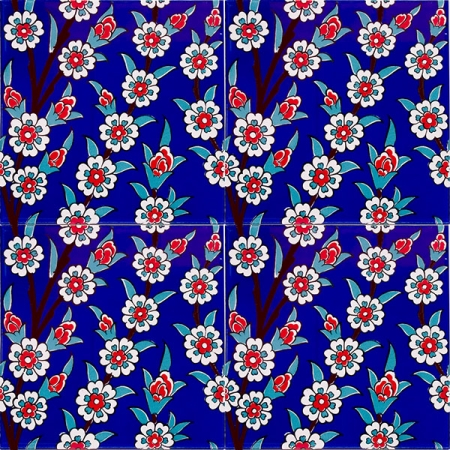 Kütahya china, iznik, Mosque tiles, Patterned ceramic porcelain tiles, Turkish bath, maroc, arabic tiles, Cobalt Daisy Patterned Cini Tile prices