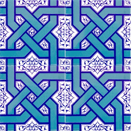 AC-6 Selcuklu Turquoise Chain Patterned Cini Tile, Kütahya tiles, iznik tile, Mosque tiles, Turkish bath, arabic mosque decoration, prices, examples