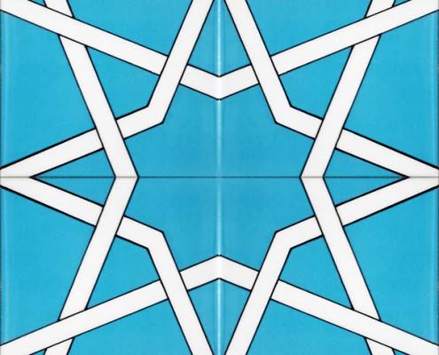 20x20 SP-34 Buyuk Turkuaz Mavi Yıldız Cini Karo Kütahya ve İznik çinileri cami otel türk hamamı banyo mutfak seramik dekorasyon örnekleri interior tiles