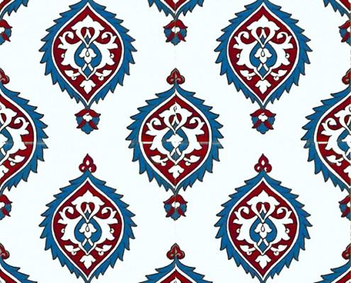20x20 SP-43-A Beyaz Hanedan Iznik Cini Karo Pano Kütahya ve İznik çinileri cami otel türk hamamı banyo mutfak seramik dekorasyon örnekleri interior tiles