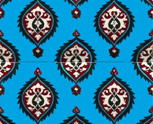 20x20 SP-43-B Mavi Hanedan Iznik Cini Karo Pano Kütahya ve İznik çinileri cami otel türk hamamı banyo mutfak seramik dekorasyon örnekleri interior tiles