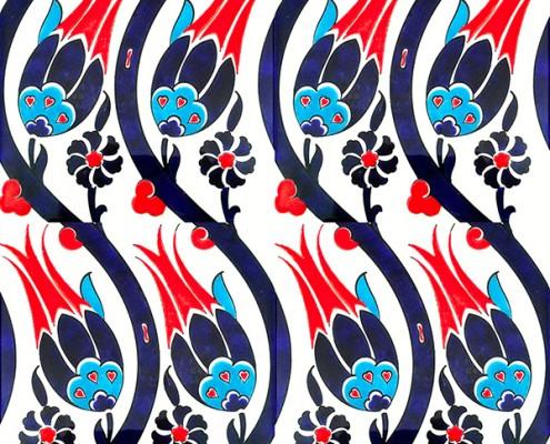 20x20 SP-77 Iznik Buyuk Lalezar Desenli Cini Karo Pano Kütahya ve İznik çinileri cami otel türk hamamı banyo mutfak seramik dekorasyon örnekleri