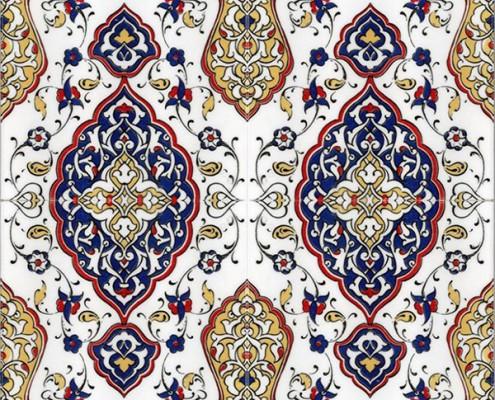 20x20 SP-79 Osmanlı Sarı Tezhip Desenli Cini Karo Pano Kütahya ve İznik çinileri cami otel türk hamamı banyo mutfak seramik dekorasyon örnekleri