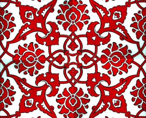 20x20 SP-83-K Kırmızı Beyaz Rumi Desenli Cini Karo Pano Kütahya ve İznik çinileri cami otel türk hamamı banyo mutfak seramik dekorasyon örnekleri