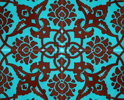 20x20 SP-83-T Turkuaz Kahverengi Rumi Desen Cini Karo Pano Kütahya ve İznik çinileri cami otel türk hamamı banyo mutfak seramik dekorasyon örnekleri