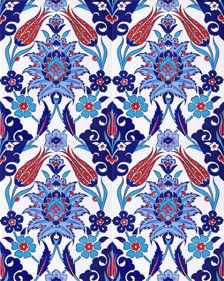 AC-1004 Iznik Lale Desen Cini Karo, Kütahya çinisi, Cami çinileri, Türk hamamı, arabic mosque, Banyo, otel dekorasyon, fiyatları, decoration örnekleri