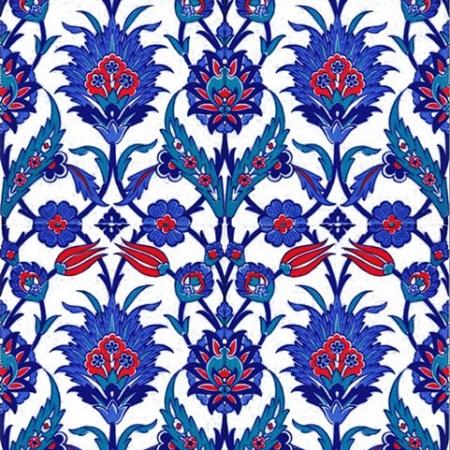 AC-1019 Mavi Çiçekli Çini Seramik Karo, Kütahya çinisi, Cami çinileri, Türk hamamı, arabic mosque, Banyo, otel dekorasyon, fiyatları, örnekleri